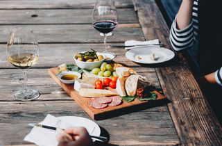 Close up of a platter on an outdoor table at Greystone Wines Waiapra, North Canterbury.