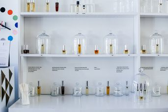 Bottles of perfume on display.