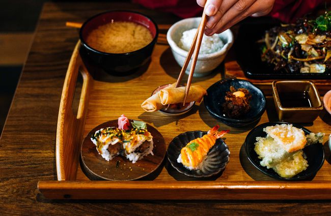 Japanese food on a tray.