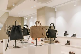 Bags on display on shelves.