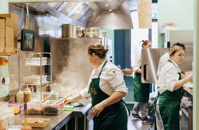 Chefs working in the kitchen.