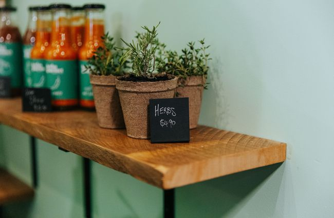 Close up of herbs on a shelf.