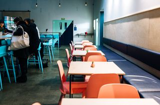 The restaurant seating at Heyday, Wellington.
