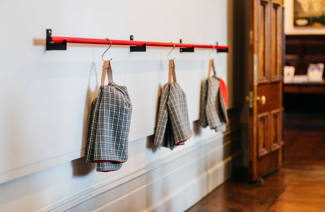 Aprons hanging up.