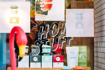 A 'hot stuff' sign on the exterior window of Iko Iko Cuba Street, Wellington shop.
