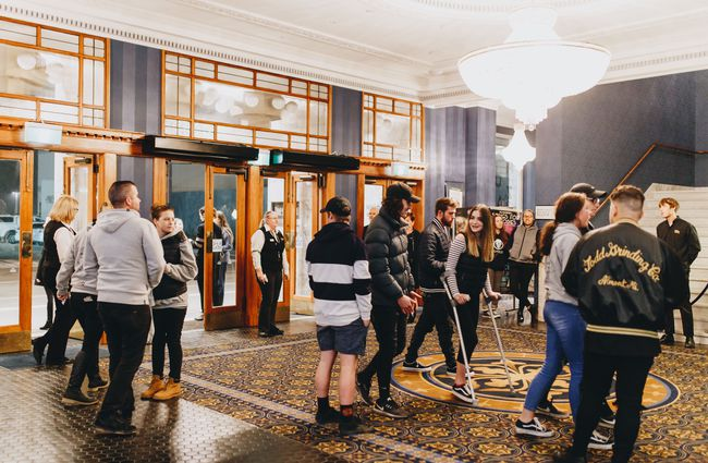A young crowd entering the foyer at Isaac Theatre Royal Christchurch.