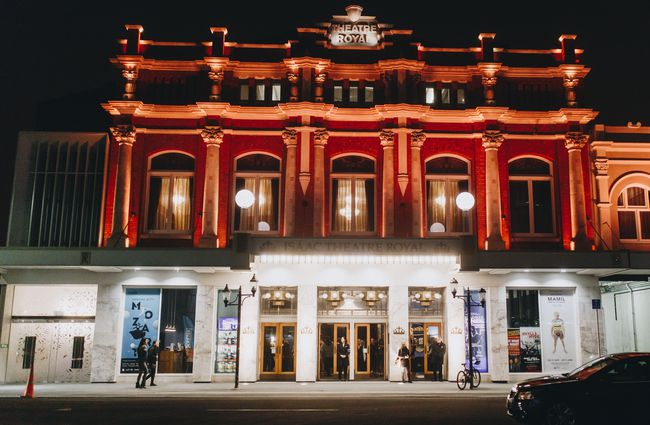 The Isaac Theatre Royal in Christchurch at night.