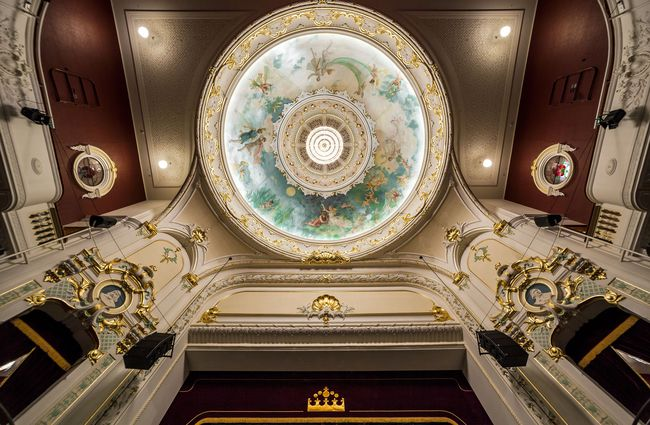 The theatre ceiling at Isaac Theatre Royal Christchurch.