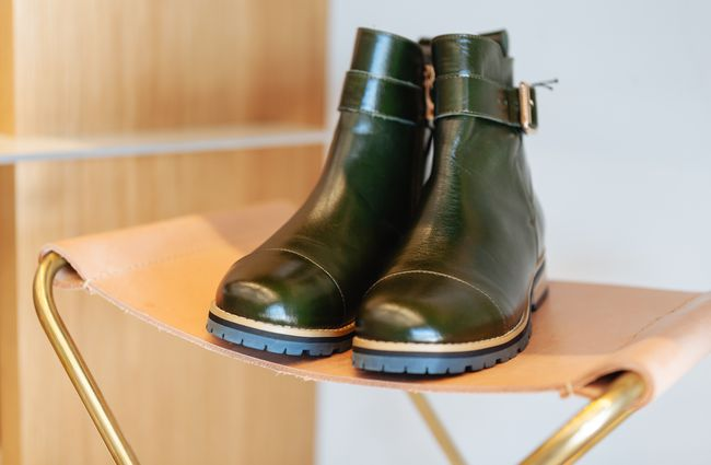 Green leather boots.