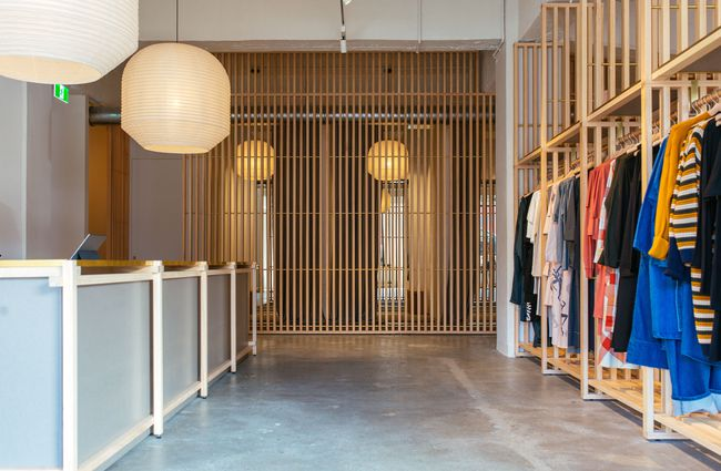 The shop interior of Kowtow Wellington clothing store, New Zealand.