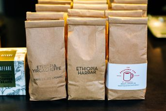 Close up of coffee bags at L'affare cafe Wellington.