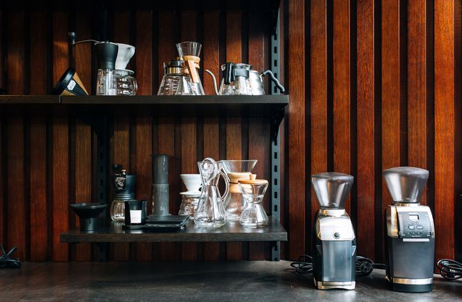Coffee equipment on display at L'affare cafe Wellington.