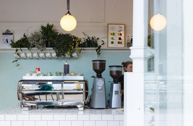 Coffee machine with plants above it inside Little and Friday,