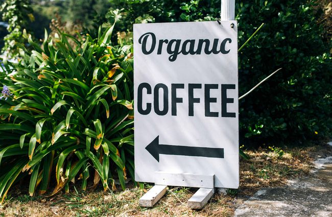 Organic coffee sign.