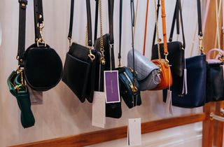 Leather bags hanging up.