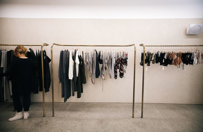 Clothes on display.