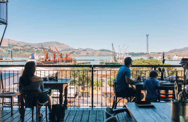 The deck overlooking the Lyttelton Harbour at Lyttelton Coffee Company cafe.