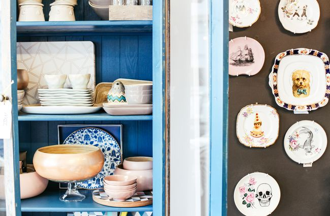 Homewares on display in the shop.