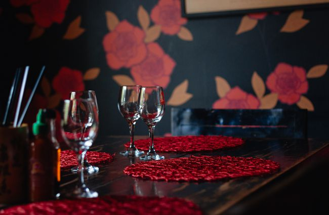 Red set tables.