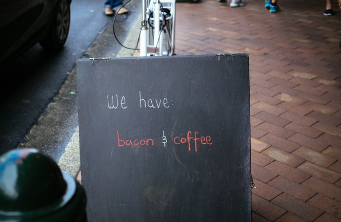 We have bacon and coffee sign.