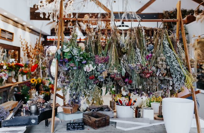 Dried flowers hanging upside down.