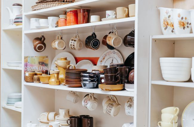 Shelves of ceramic cups and plates