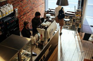 Standing above, looking down onto cafe.