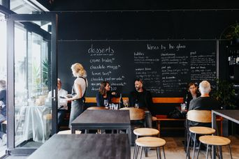 Chalkboard wall and tables.