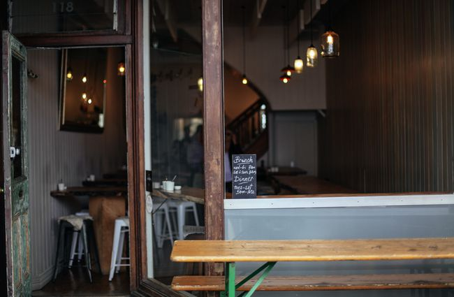 Looking inside cafe from outside.