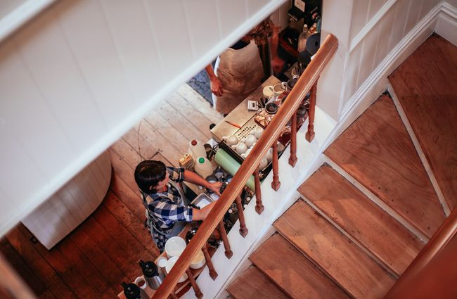 Looking down onto wooden staircase.