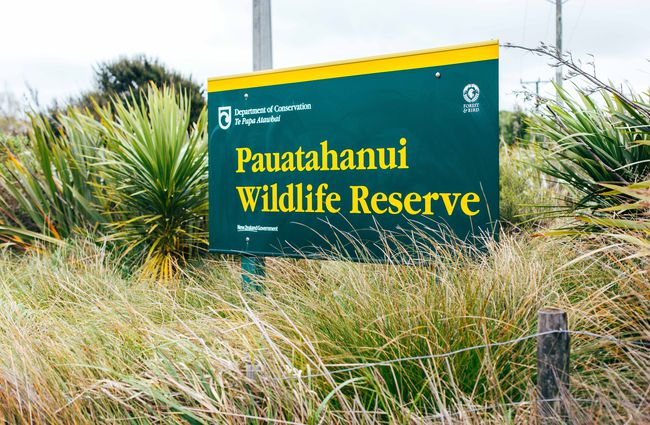 Pāuatahanui Wildlife Reserve DOC sign.