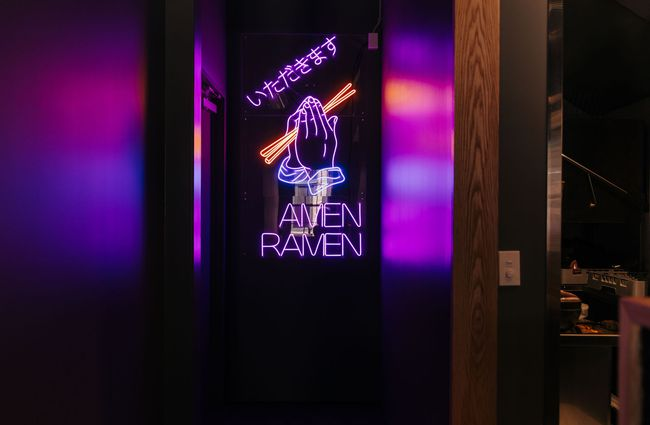 Amen Ramen purple neon sign.