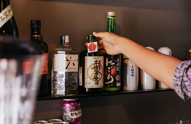 the alcohol selection at Ramen Ria