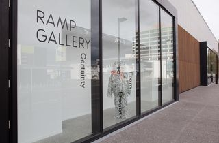 The outside display window at Ramp Gallery, Hamilton.