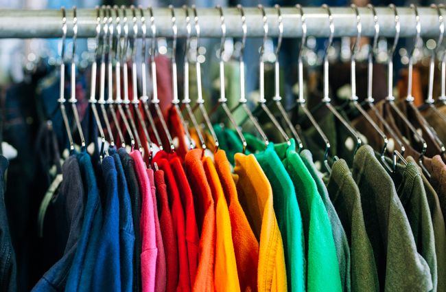 A colourful rack of clothes at Recycle Boutique, Hamilton.