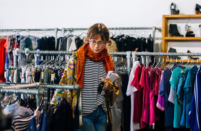 A customer looks for clothes at Recycle Boutique, Hamilton.