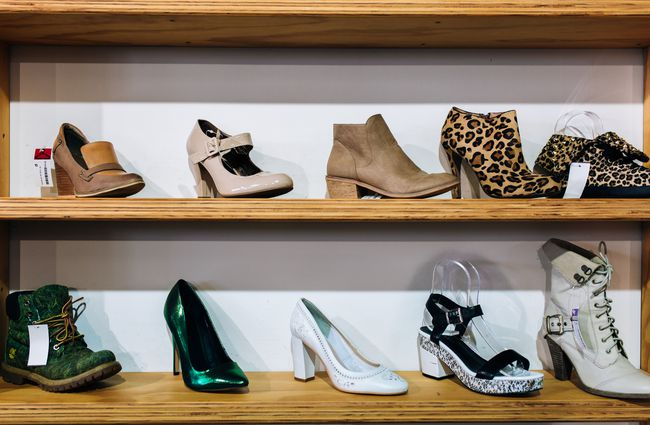 Shoes on display at Recycle Boutique, Hamilton.