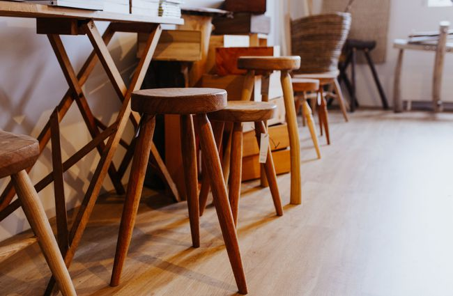 Close up of wooden stools.