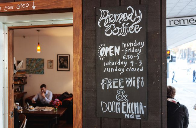 Remedy Coffee signage.
