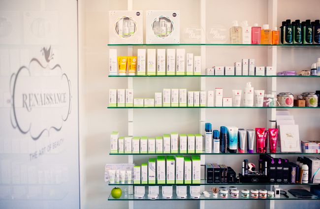 Shelves of skincare products.