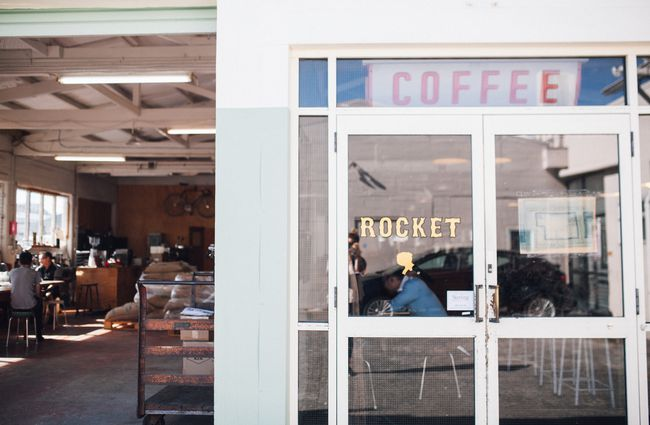 Entrance to Rocket Coffee Roasters.