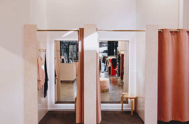 The changing rooms of Ruby clothing store in Central Christchurch.