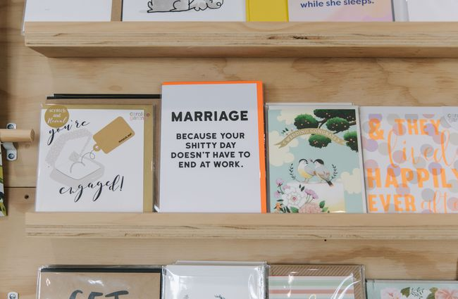 Greeting cards shelf.