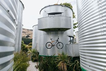 The exterior of the silos.