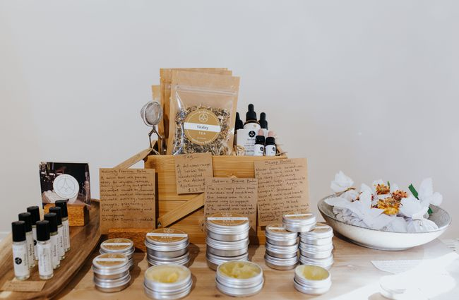 Table piled with natural products.
