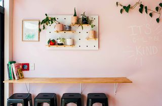 Pink wall with shelves of plants and leaner table with stools underneath.