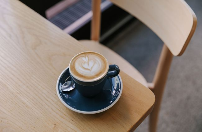 Flat white on a table.