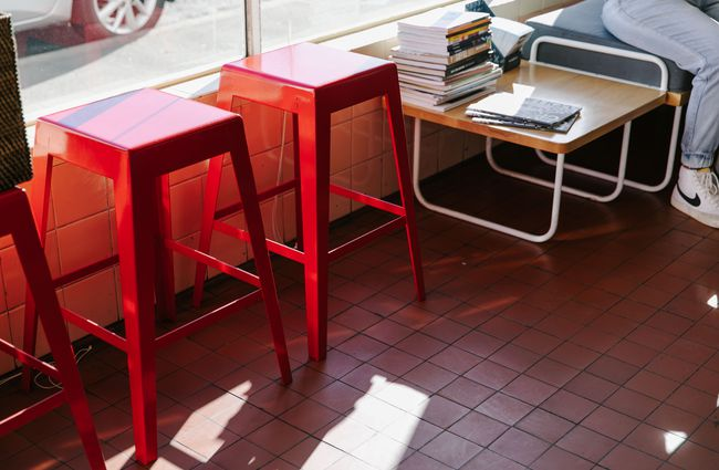 Red stools.