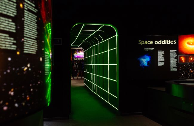A corridor leading to a space exhibition inside Space Place Wellington New Zealand.
