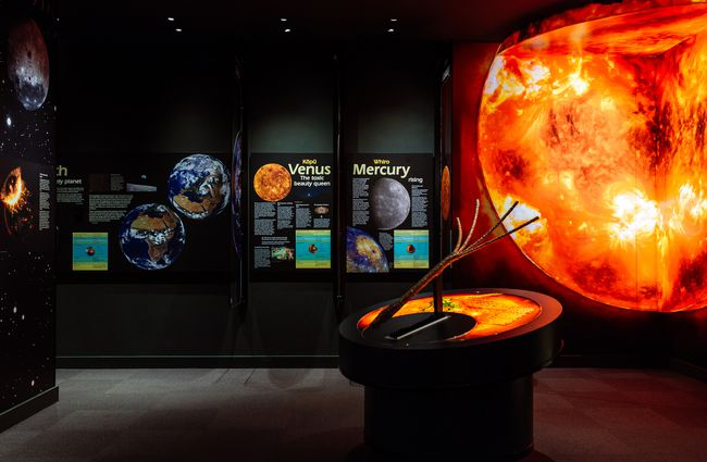 Informative displays about the Venus and Mercury planets inside Space Place Wellington New Zealand.